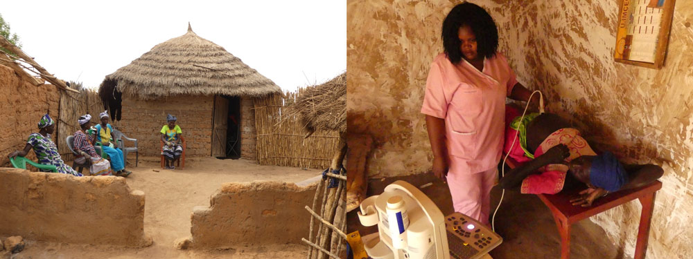 Left: women waiting at the health center. Right: the midwife performs an ultrasound.
