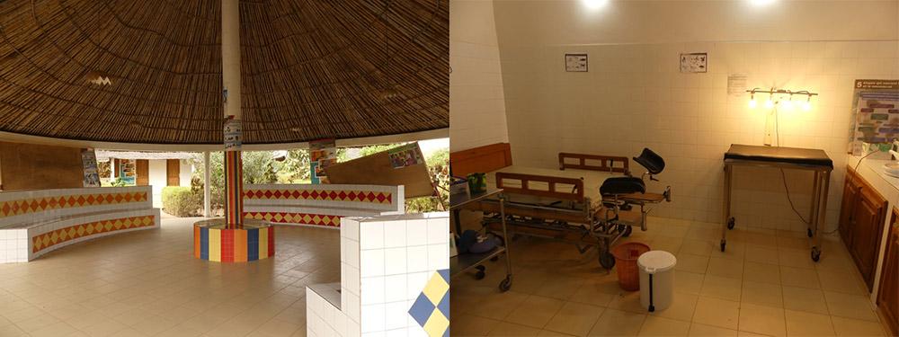 Ci dessus, la salle d'attente et la salle d'accouchement du centre de Bala.