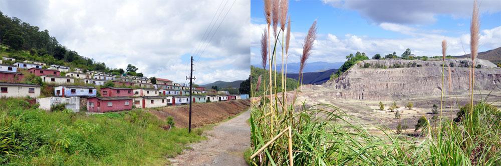 Maisons des anciens travailleurs de la mine laissées à l'abandon. Le terril d'amiante à l'état naturel