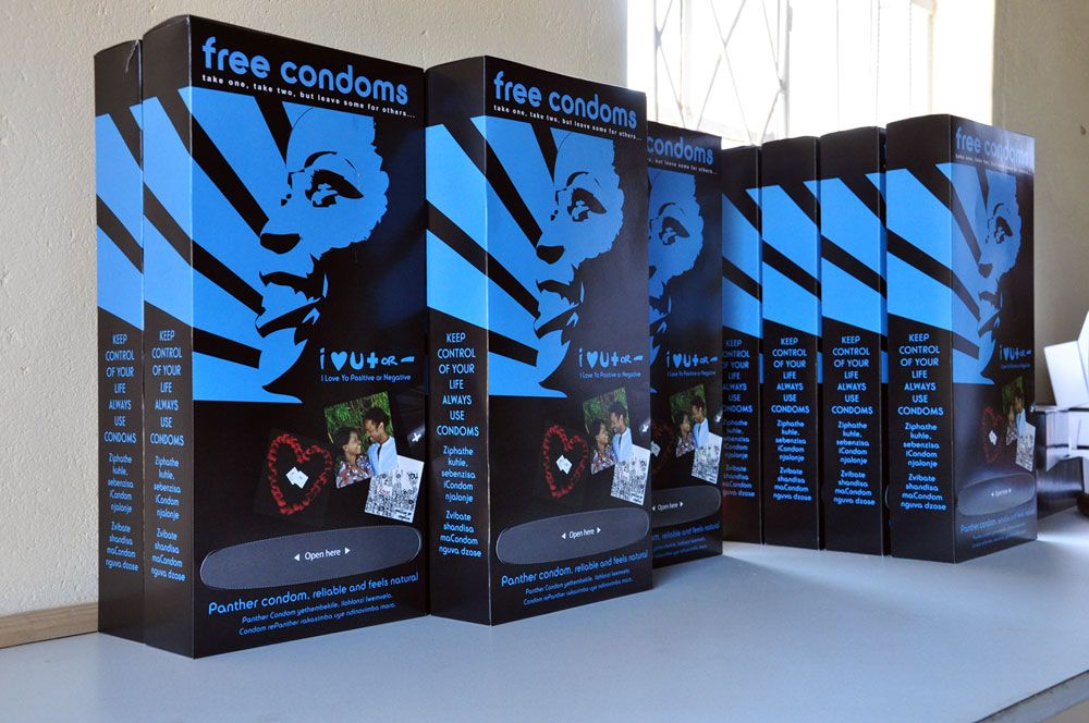 Display box of condoms with attractive packagings.